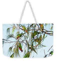 Lorikeets Swarming From Tree To Tree Weekender Tote Bag
