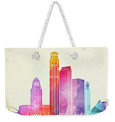 Los Angeles Landmarks Watercolor Poster Weekender Tote Bag by Pablo Romero