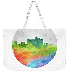 Los Angeles Skyline Uscala20 Weekender Tote Bag by Aged Pixel