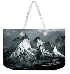 Weekender Tote Bag featuring the photograph Los Cuernos In Black And White by Andrew Matwijec