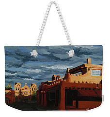 Weekender Tote Bag featuring the painting Los Farolitos,the Lanterns, Santa Fe, Nm by Erin Fickert-Rowland
