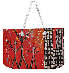 Weekender Tote Bag featuring the painting Lost Cities 13-001 by Mario Perron
