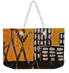 Weekender Tote Bag featuring the painting Lost Cities 13-002 by Mario Perron