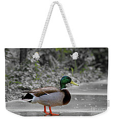 Weekender Tote Bag featuring the photograph Lost Duck by Mariola Bitner