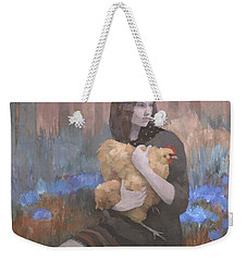 Weekender Tote Bag featuring the painting Lost In The Red Wood by Steve Mitchell