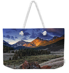 Weekender Tote Bag featuring the photograph Lost River Mountains Moon by Leland D Howard