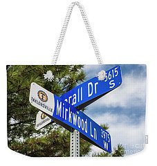 Weekender Tote Bag featuring the photograph Lotr Mirkwood Street Signs by Gary Whitton
