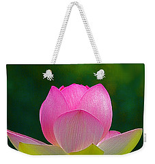 Weekender Tote Bag featuring the photograph Lotus Blossom 842010 by Byron Varvarigos