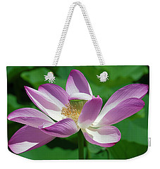Weekender Tote Bag featuring the photograph Lotus--center Of Being--protective Covering I Dl0087 by Gerry Gantt