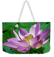 Weekender Tote Bag featuring the photograph Lotus--center Of Being--protective Covering II Dl0088 by Gerry Gantt
