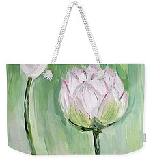 Weekender Tote Bag featuring the painting Lotus Emerging by Maria Langgle