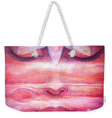 Weekender Tote Bag featuring the painting Lotus Meditation, Jupiter Clouds by Sue Halstenberg