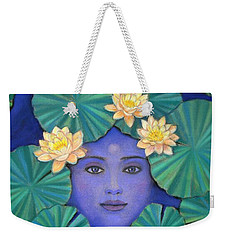 Weekender Tote Bag featuring the painting Lotus Nature by Sue Halstenberg