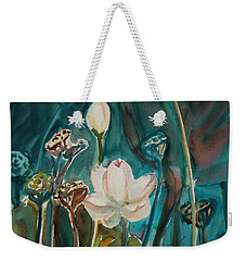Weekender Tote Bag featuring the painting Lotus Study I by Xueling Zou