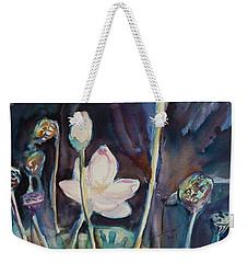 Weekender Tote Bag featuring the painting Lotus Study II by Xueling Zou