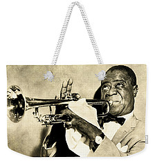 Weekender Tote Bag featuring the digital art Louis Satchmo Armstrong by Anthony Murphy