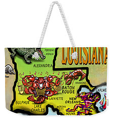 Louisiana Cartoon Map Weekender Tote Bag