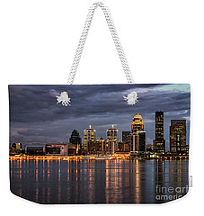 Weekender Tote Bag featuring the photograph Louisville At Dusk by Andrea Silies