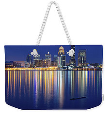 Louisville During Blue Hour Weekender Tote Bag by Frozen in Time Fine Art Photography