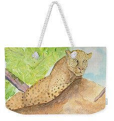 Weekender Tote Bag featuring the painting Lounging Leopard by Vicki  Housel