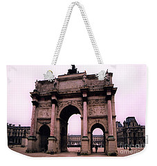 Weekender Tote Bag featuring the photograph Louvre Museum Entrance Courtyard Arc De Triomphe Arch Landmark - Paris Louvre Museum Architecture by Kathy Fornal