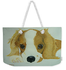 Weekender Tote Bag featuring the painting Lovable Puppy by Norm Starks