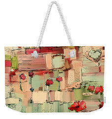Weekender Tote Bag featuring the mixed media Love Abstract by Carrie Joy Byrnes
