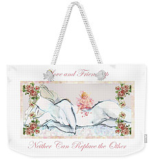 Weekender Tote Bag featuring the mixed media Love And Friendship - Valentine Card by Carolyn Weltman