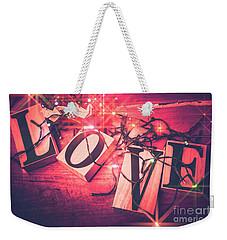 Love Birds And Wooden Sentiments Weekender Tote Bag