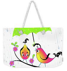 Love Birds In Rain Weekender Tote Bag