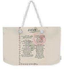Love By Roy Croft Weekender Tote Bag