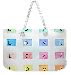 Weekender Tote Bag featuring the painting Love by Edwin Alverio