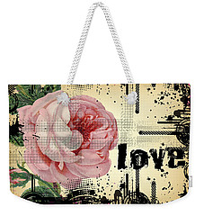 Weekender Tote Bag featuring the digital art Love Grunge Rose by Robert G Kernodle