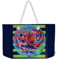 Weekender Tote Bag featuring the painting Love Is A Planetary Force by Denise Weaver Ross