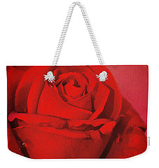 Love Is A Red Rose With Raindrops Weekender Tote Bag by Diane Schuster