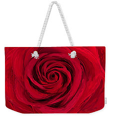 Weekender Tote Bag featuring the painting Love Is A Rose by Barbara Chichester