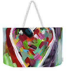 Weekender Tote Bag featuring the mixed media Love Is Colorful 3- Art By Linda Woods by Linda Woods