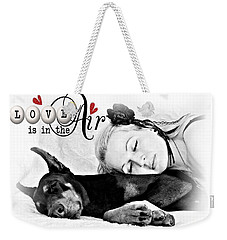 Weekender Tote Bag featuring the digital art Love Is In The Air by Kathy Tarochione