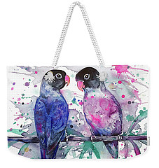 Weekender Tote Bag featuring the painting Love Is In The Air. Lovebirds by Zaira Dzhaubaeva
