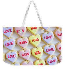 Weekender Tote Bag featuring the photograph Love Kiss Hug Heart Cookies by Teri Virbickis