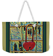Weekender Tote Bag featuring the mixed media Love Locked On The Hudson by Bruce Carpenter
