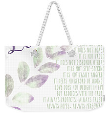 Weekender Tote Bag featuring the photograph Love Never Fails by Andrea Anderegg