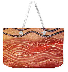 Weekender Tote Bag featuring the painting Love Never Fails by Winsome Gunning