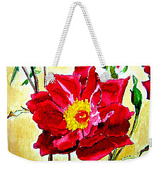 Weekender Tote Bag featuring the painting Love Rose by Ana Maria Edulescu