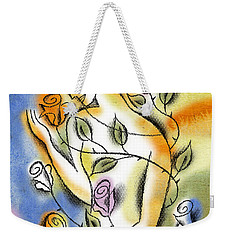 Weekender Tote Bag featuring the painting Love, Roses And Thorns by Leon Zernitsky