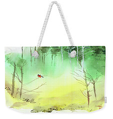 Weekender Tote Bag featuring the painting Lovebirds 3 by Anil Nene
