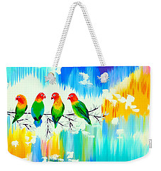Lovebirds On A Branch Weekender Tote Bag by Cathy Jacobs