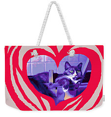 Loveheart Kitty Weekender Tote Bag by Mary Armstrong