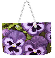 Lovely Purple Pansy Faces Weekender Tote Bag by Inese Poga