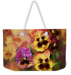 Weekender Tote Bag featuring the photograph Lovely Spring Pansies by Diane Schuster